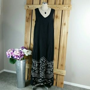 Johnny Was Maxi Linen Embroidered Dress